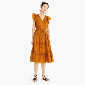 Point Sur flutter-sleeve pom-pom midi dress in cot
